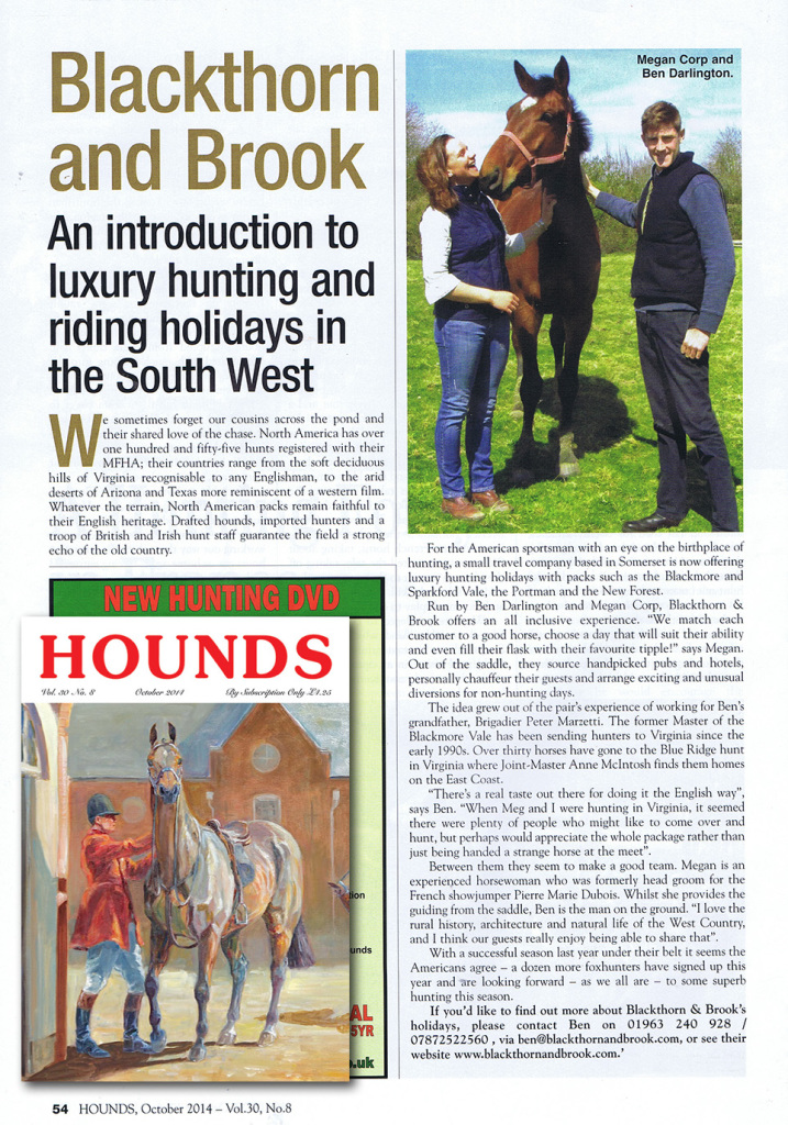 Our Luxury Riding Vacations in Hounds Magazine
